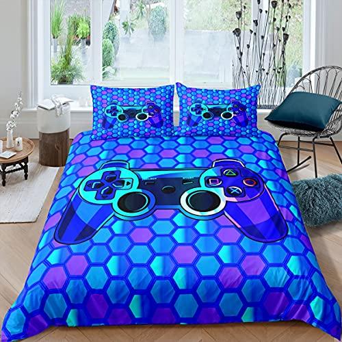 Gamepad - Ropa de Cama de Nido de Abeja niños,niñas,Jugadores,Juegos de Cama patrón geométrico Hexagonal Lino Azul Morado 2 Piezas Individual