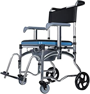 Asdfnfa Toilet Chair,Toilet Chair for Elderly with Wheels Foldable Home All Aluminum Alloy Waterproof Non-Slip Reinforceme...