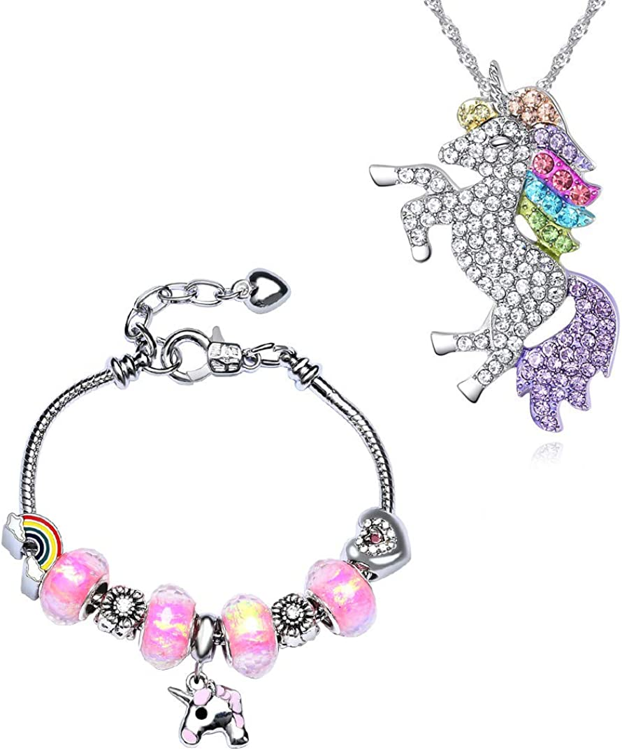 JACKY CHARMING Ranking TOP20 Pink Unicorn Crystal and Necklace Charm Sales of SALE items from new works Br Zircon