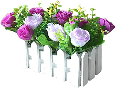 Cupcinu Artificial Flower Fake Flower Pot Planting Wooden Fence Artificial Flower Set Indoor Living Room Porch