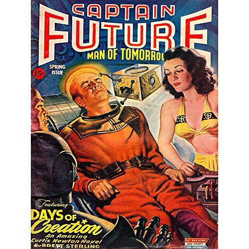 Wee Blue Coo Comics Captain Future Days Creation Science Fiction Art Print Poster Wall Decor Kunstdruck Poster Wand-Dekor-12X16 Zoll