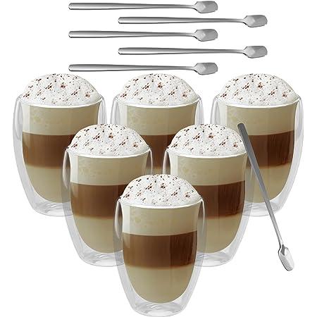 GoMaihe 6x350ml Verre Double Paroi Tasse Apportez une Cuillère(x6), Cappuccino Tasse a Café, Tasse Nespresso.
