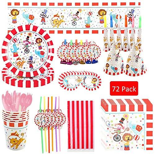 Party Supplies Vajilla Tomicy 46 piezas Party Supplies Juego de Decoración Plato de Circo para Fiestas Incluye Pancarta Platos Cubiertos Cumpleaños para Decoraciones de Ducha