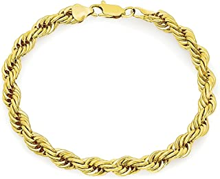 7mm 14k Yellow Gold Plated Braided Rope Link Rounded Chain Bracelet + Microfiber Jewelry Polishing Cloth