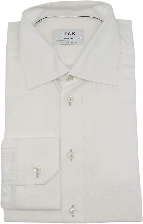 Eton Men's White Contemporary Fit Extra Long Sleeve Dress Shirt - 43-17 (XL)