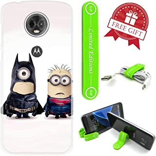 [Ashley Cases] for Moto [G7 Play] Cover Case Skin with Flexible Phone Stand - Minions Batman Superman