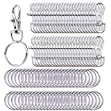 Livder Metal Swivel Lanyard Snap Hooks and Split Key Rings Chain Hook Keychain, 100 Pieces