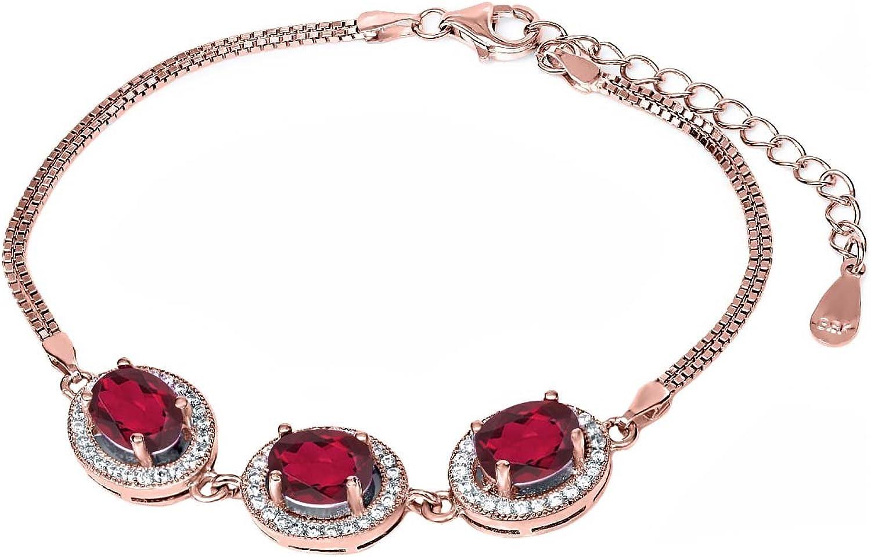 9.25 Ct Red Mystic Quartz 18K pink gold Plated Silver Bracelet