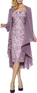 Lace Mother of The Bride Dresses Formal Gowns with Chiffon Jacket Wraps