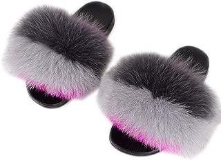 SmarketL Women's Flip Flop Open Toe Slide Fox Fur Soft Slide Flat Slipper Sandals Multicolor,9MUS,Grey-Darkgrey