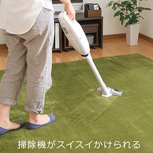 アイリスプラザ洗えるラグ防ダニフランネルラグカーペット130×185cm心地良いさらフワ触感滑り止め付きグリーン