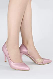 Pudra Yanı Açık Şeffaf Stiletto Topuklu Kadın Ayakkabı - Lotus