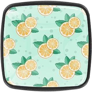 Juego de 4 tiradores de cajón de color naranja y verde menta para armarios cajones tiradores de cajones tiradores para ...