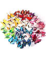 Foonii® 72 stuks 3D vlinders muurdecoratie sticker aftrekplaatjes, slagvast kunststof vlinder decoraties, muurdecoratie (12 blauw, 12 kleuren, 12 groen, 12 geel, 12 roze, 12 rood)