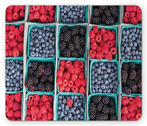 N\A Alfombrilla de ratón de Frutas, Comestibles Fresas frambuesas y Bayas cestas Mercado de granjeros, Alfombrilla de ratón de Goma Antideslizante de tamaño estándar, Escarlata Azul Granate