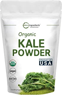 Sustainably US Grown, Organic Kale Powder, 1 Pound (90 Servings), Green Superfood for Overall and Liver Health, No GMOs and Vegan Friendly