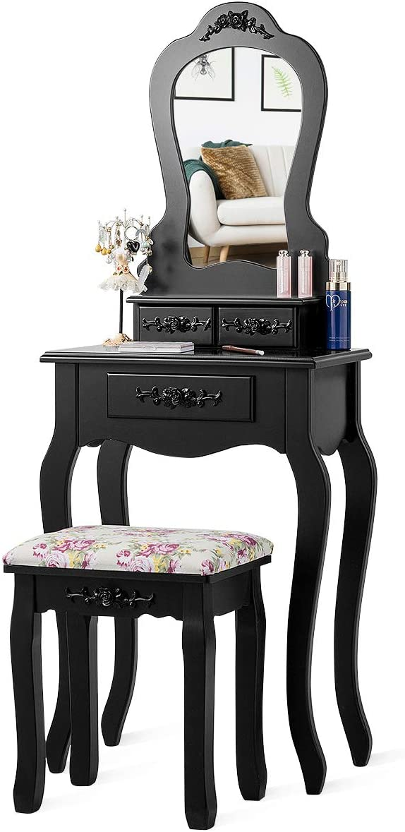 Giantex Super popular specialty store Vanity Set with 3 Drawers Classic Dr Makeup Stool Cushioned and