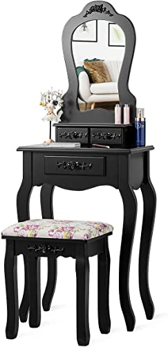 discount Giantex high quality Vanity Set with 3 Drawers and Cushioned online sale Stool, Makeup Dressing Table for Bathroom Bedroom Small Space, Vanity Table and Bench for Kids Girls Women Gifts (Black) online sale