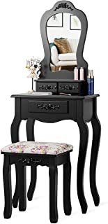 Giantex Vanity Set with 3 Drawers and Cushioned Stool, Makeup Dressing Table for Bathroom Bedroom Small Space, Vanity Tabl...