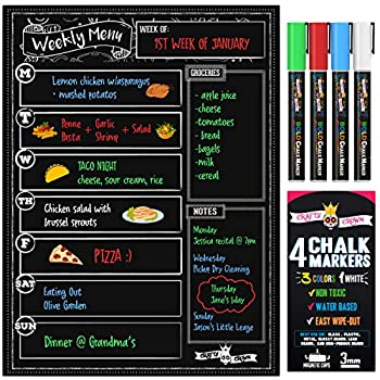 Magnetic Dry Erase Menu Board for Fridge Includes 4 Liquid Chalk Markers - Weekly Meal Planner Blackboard Grocery List and Notepad for Kitchen Refrigerator - Chalkboard Magnet