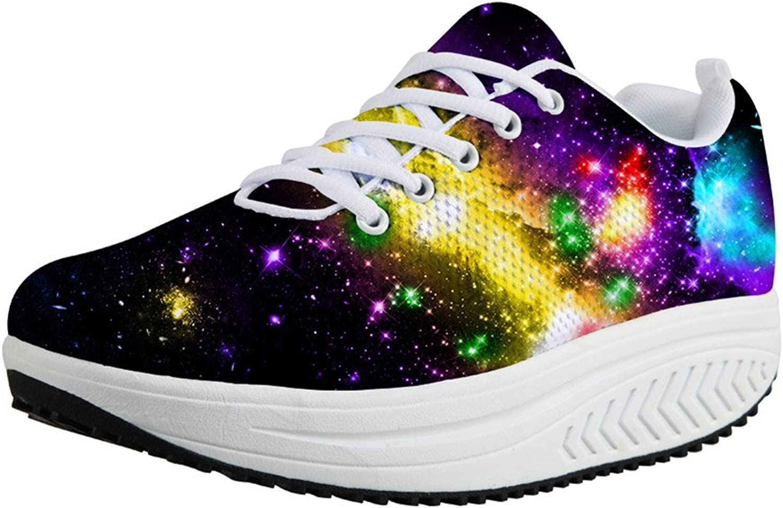 Chaqlin Cool Galaxy Women Swing shoes Fashion Universe Pattern Rocking Mesh Wedges Lace-Up US 5