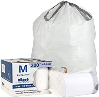 Plasticplace Custom Fit Trash Bags │ Simplehuman Code M Compatible (200 Count) │ White Drawstring Garbage Liners 12 Gallon / 45 Liter │ 21.5