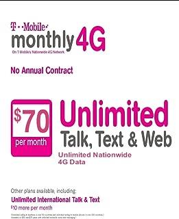$70 T-Mobile Prepaid SIM Card Unlimited Talk, Text, & Web