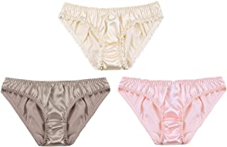 Silk Panties 3 Pack Womens Skin Friendly Silk Briefs Comfy Breathable Sof Underwear Elastic Waist