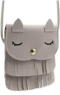 KINGSEVEN Kids Girls Tassel Cute Cat Mini Shoulder Bags Leather Crossbody Handbag Coin Purse