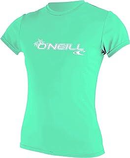 O'Neill Wetsuits Women's Basic Skins Short Sleeve Sun Shirt, Light Aqua, Medium