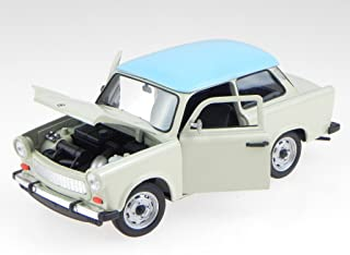 Trabant 601 mit Dachzelt Fertigmodell in Displayvitrine im Maßstab 1:43