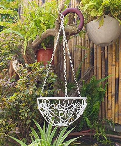LHPHUAJIA Etagère de Fleur Crochets de Fleurs en Fer Créativité Pastorale Balcon Cour Suspension Pot à Fleurs Blanc (Couleur : Blanc, Taille : 28 * 49cm)