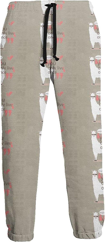 KAWAHATA Cute Llama Men's Pants with Pockets Tapered Athletic Sweatpants 3D Casual Active Sports Pants