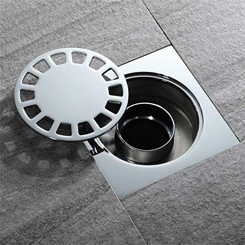 WHR-HARP Ablaufrinne Bodenablauf, Quadrat Duschrinne, Ablaufrinne mit Siphon, Duschablauf Bodenablauf, Bodenablauf Dusche Flach Befließbar, Silver 100 * 100mm