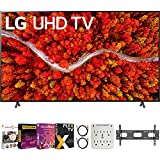 LG 86UP8770PUA 86 Inch AI ThinQ 4K UHD Smart TV (2021 Model) Bundle with Premiere Movies Streaming 2020 + 37-100 Inch TV Wall Mount + 6-Outlet Surge Adapter + 2X 6FT 4K HDMI 2.0 Cable