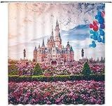 vrupi Flower Cluster rosa Disney Castle Duschvorhang Dekoration bunten Beauty Park 71x71inch Waschen wasserdichtes Gewebe einschließlich zwölf Kunststoffhaken Verdickung Duschvorhang