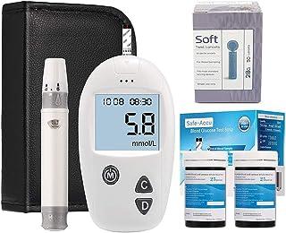 FJLOVE Medidor De Glucosa En Sangre,Glucosa en Sangre Kit de Control de la Diabetes Kit con 50 Codefree Tiras,50 Lancet y Bolsa portátil,LCD Medidor de glucosa en Sangre con Pantalla Digital Grande