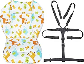 Twoworld Baby Stroller/High Chair Seat Cushion Liner Mat Pad Cover Resistant and High Chair Straps (5 Point Harness) 1 Suit (Animal)