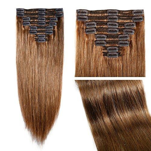 50,8 cm trame Double 8 Lot de 18 extensions en cheveux Remy naturels à clips Marron clair