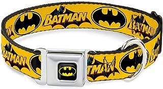 Buckle-Down Seatbelt Buckle Dog Collar - Vintage Batman Logo & Bat Signal-3 Yellow - 1.5