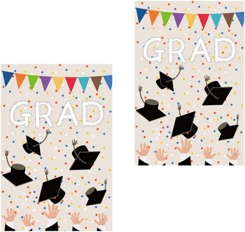 Amosfun 2Pcs store Congrats Grad Gorgeous Graduation Congratulation Garden Flag