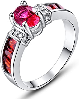 925 Sterling Silver Created Rainbow Topaz Filled Engagement Ring