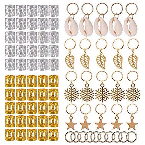 NANUNU Hair clip,80Pcs Hair Jewelry Rings Clips Aluminum Dread Locks Adjustable Metal Cuffs Beads Braiding Hair Decorations