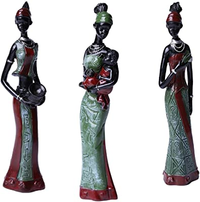 TBW African Tribal Women Collectible Figurines for Mother's GiftsGreenPack of 3