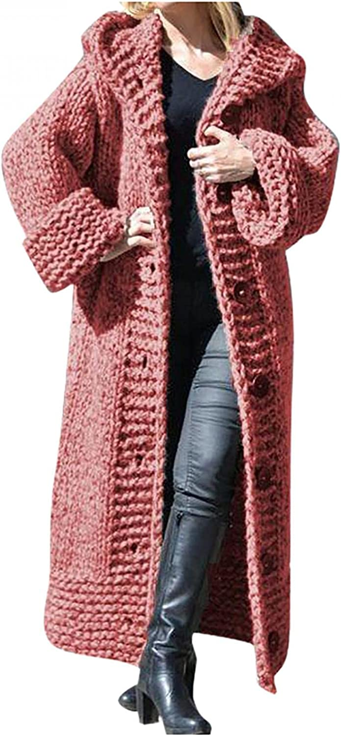 Eduavar Sweaters for Women Cardigan Long Sleeve Knit Sweater Open Front Cardigan Top Comfy Casual Loose Long Button Coat