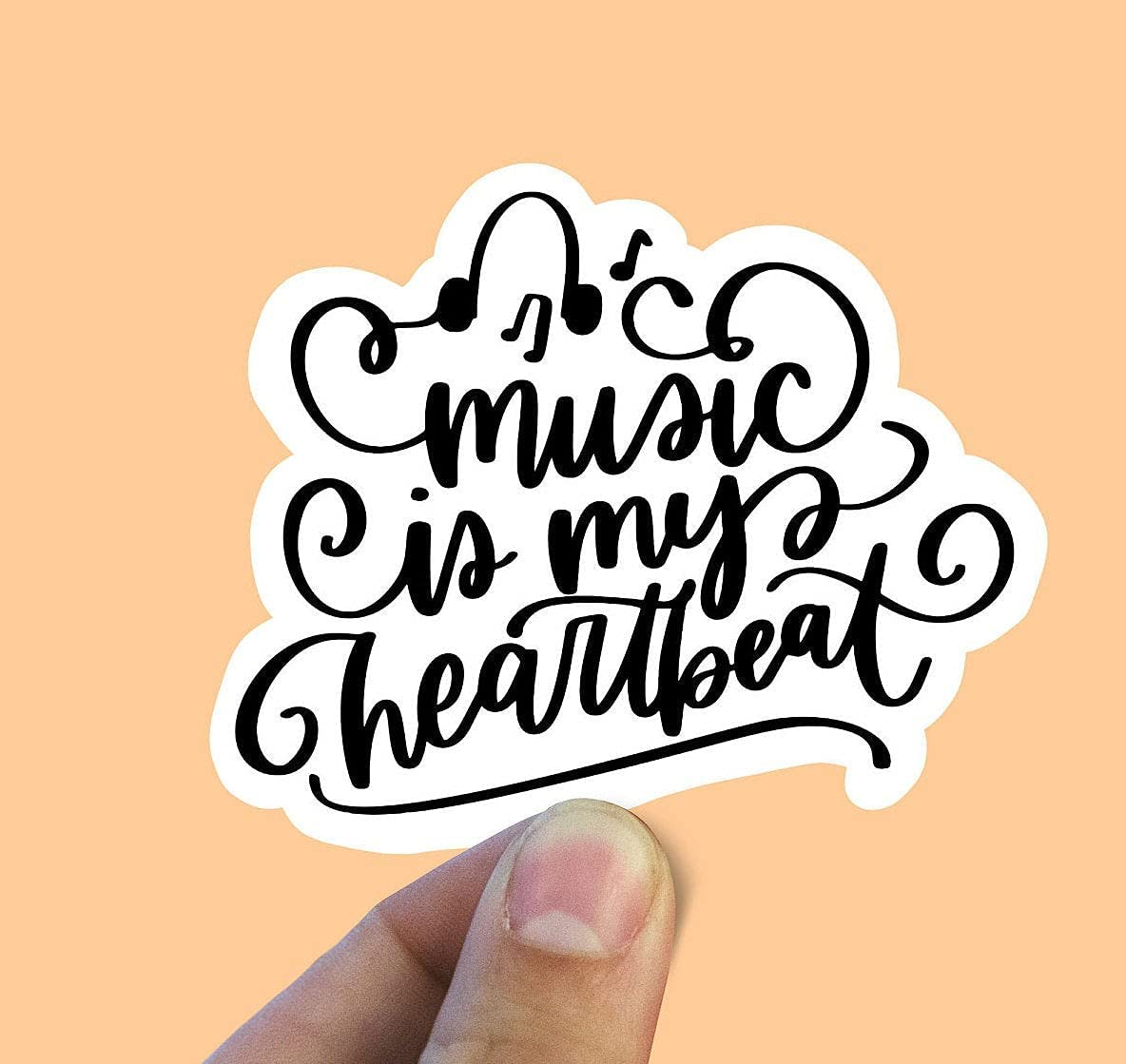 Max 74% OFF Music is My Heartbeat Vinyl Deluxe Stickers Sticker Aesthetic