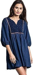 Boho Chic Denim Peasant Tunic Dress