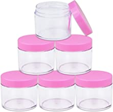 Beauticom 60 Grams/60 ML (2 Oz) Round Clear Leak Proof Plastic Container Jars with Pink Lids for Travel Storage Makeup Cosmetic Lotion Scrubs Creams Oils Salves Ointments (6 Jars)