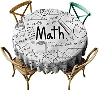 UETECH Outdoors Round Tablecloth Mathematics Classroom,Math Icons Wrinkle Free Tablecloths Diameter 50