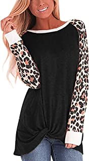 Womens Tops,Womens O-Neck Long Sleeves Leopard Print Splicing Pullover Blouse Easy Tops
